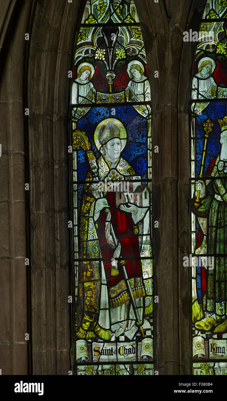 Lichfield Cathedral, St Chad window - Stock Image