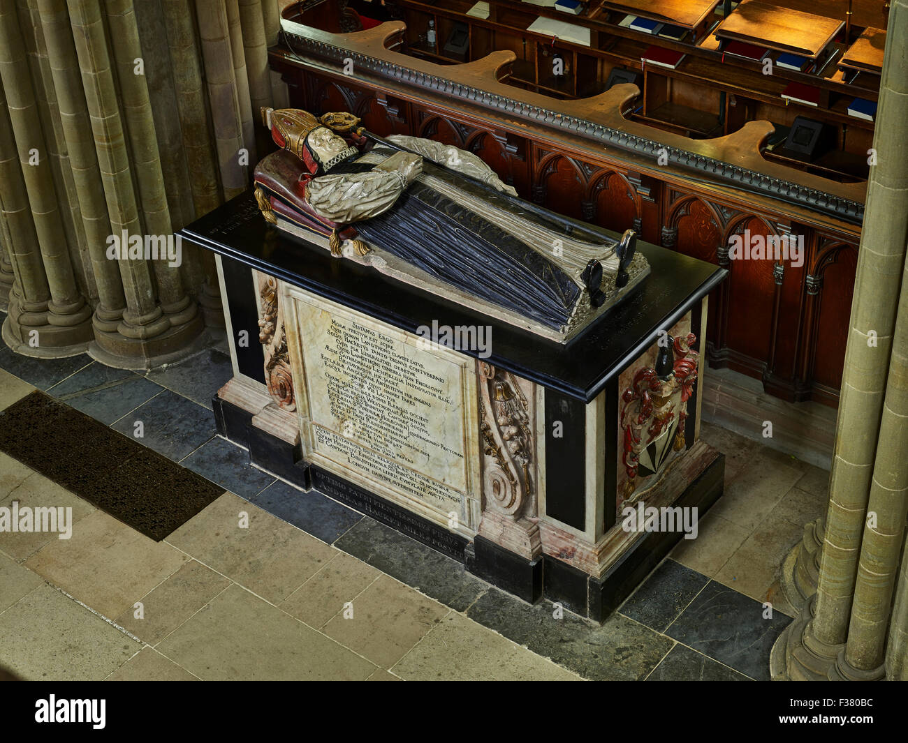 Lichfield Cathedral, tomb of Bishop Hackett - Stock Image
