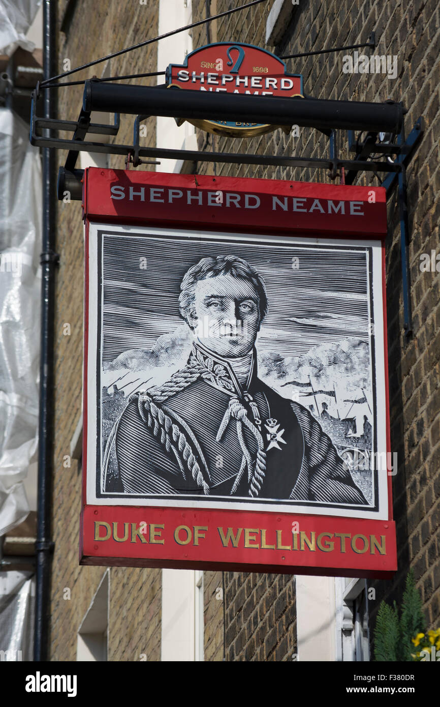 inn sign for the duke of wellington pub, belgravia, london, england, with brewer name, shepherd neame - Stock Image