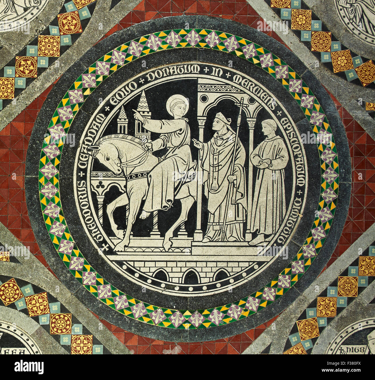 Lichfield Cathedral, St Chad tile - Stock Image