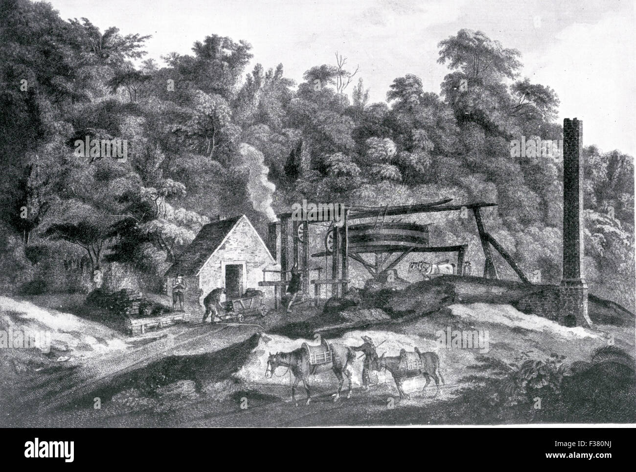 COAL MINING at Broseley, Shropshire, about 1760. Coal was raised by a two-horse powered wheel with a fire engine - Stock Image