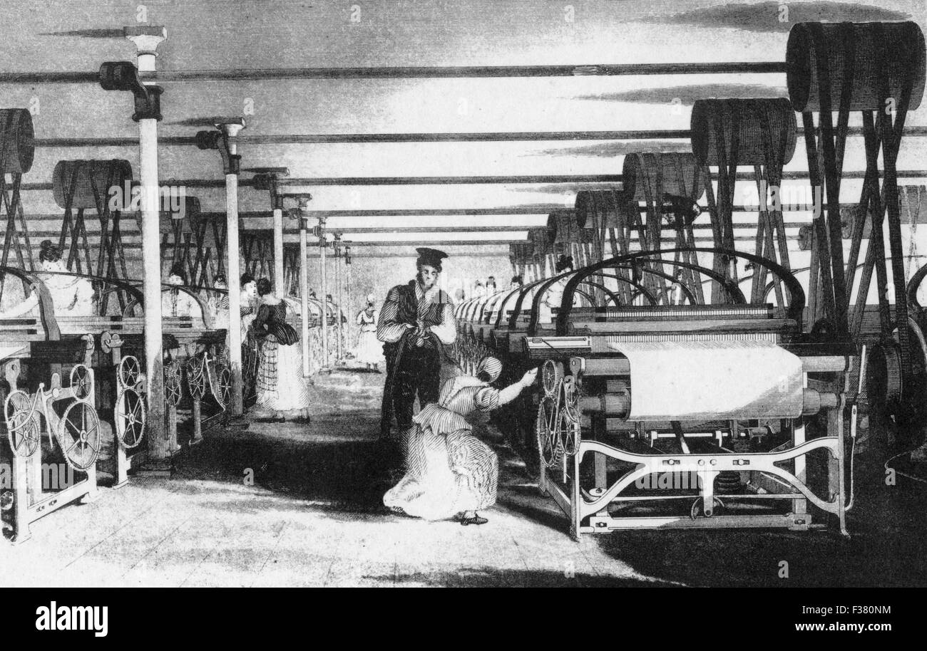 POWER LOOM WEAVING from Baines's History of the Cotton Manufacture, 1835 - Stock Image