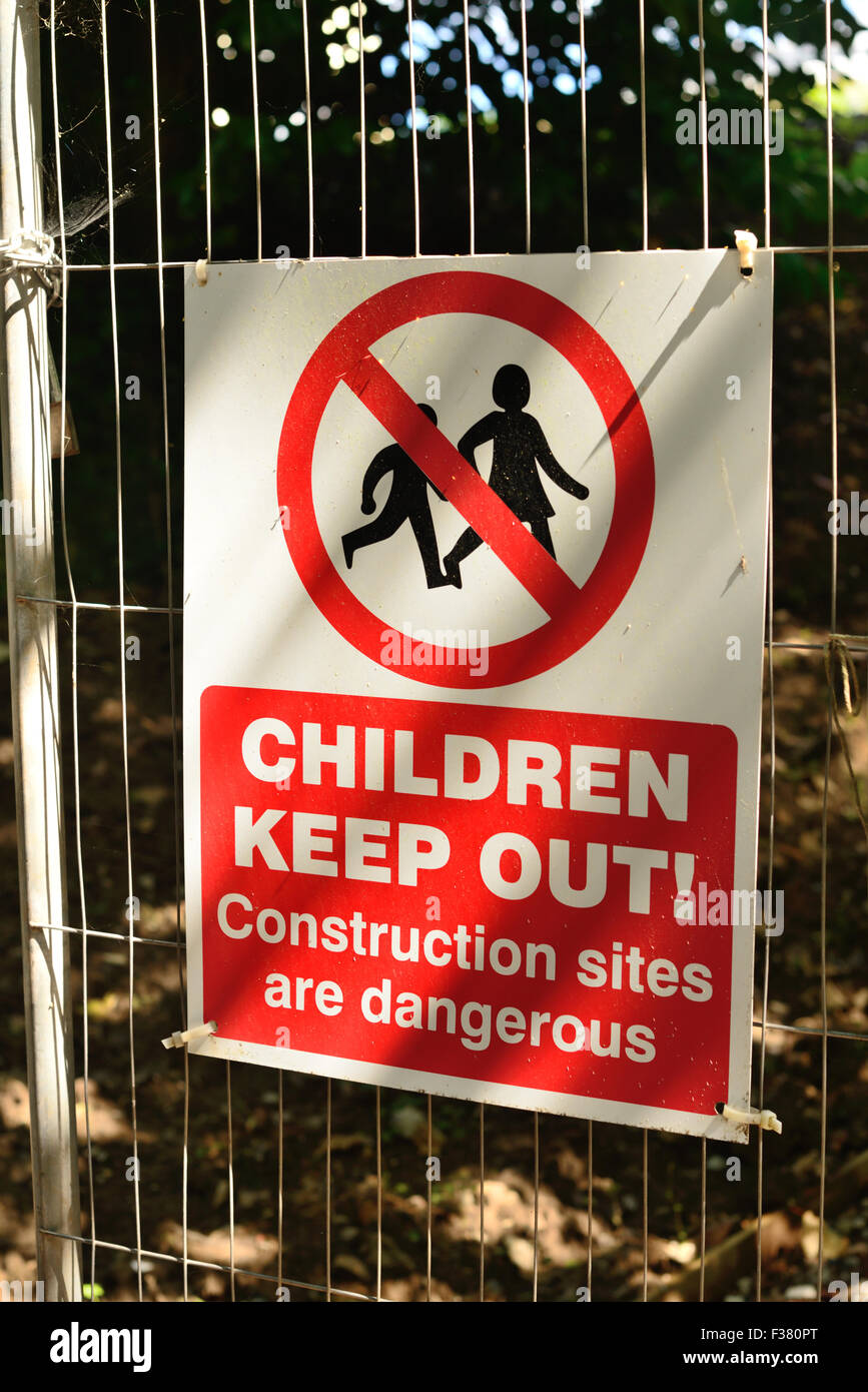 Warning sign at building site. - Stock Image