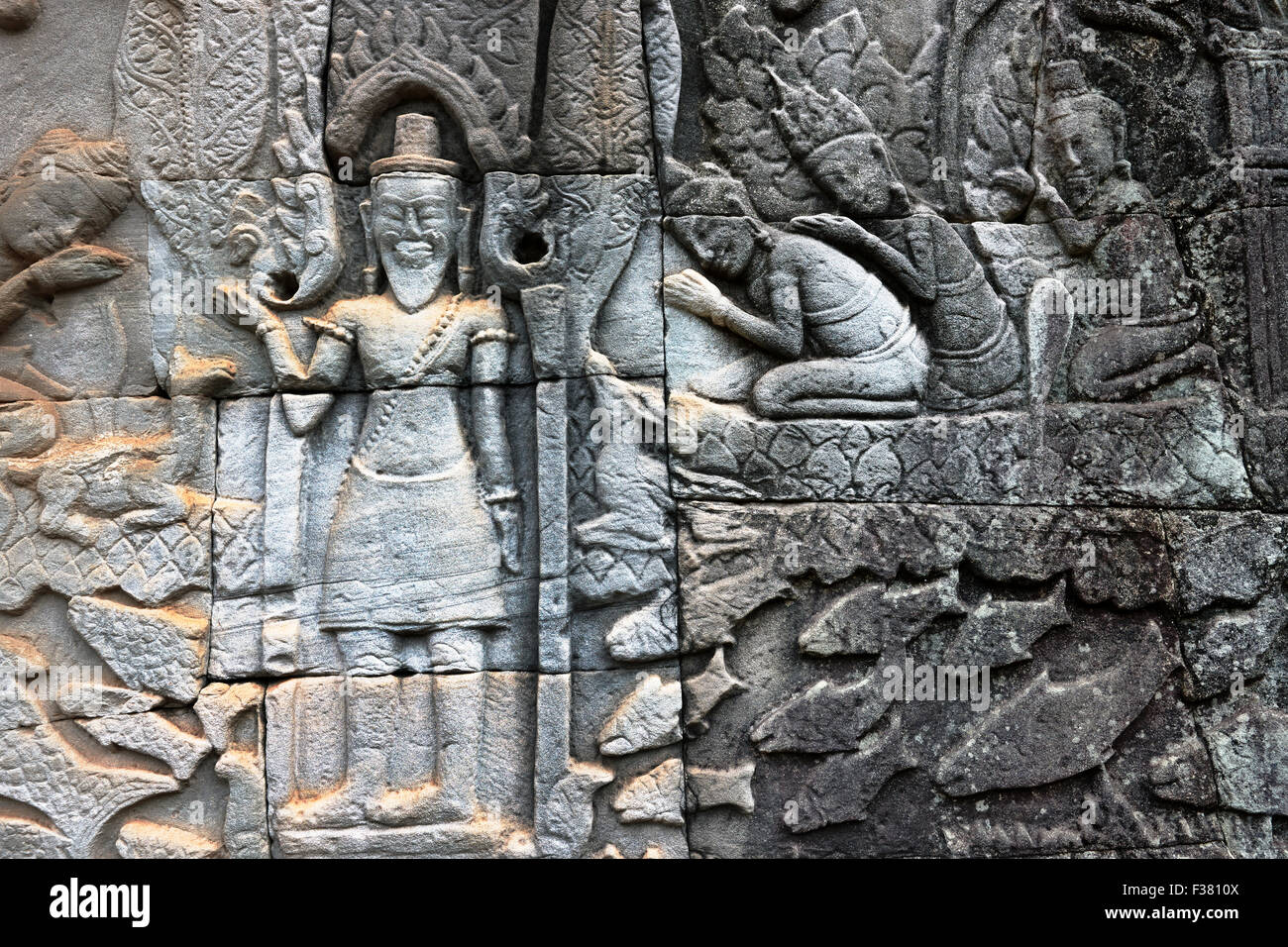 Fragment of bas-relief at Bayon temple. Angkor Archaeological Park, Siem Reap Province, Cambodia. - Stock Image