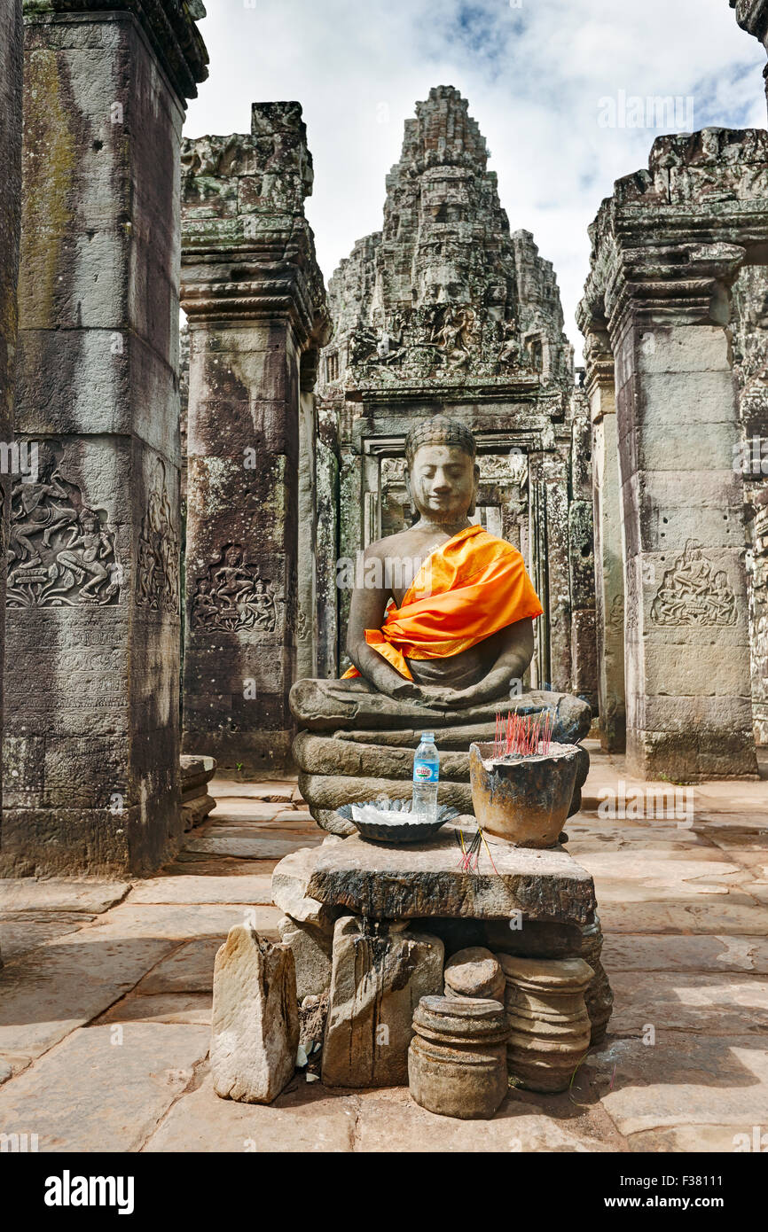 Buddha statue at Bayon temple. Angkor Archaeological Park, Siem Reap Province, Cambodia. - Stock Image