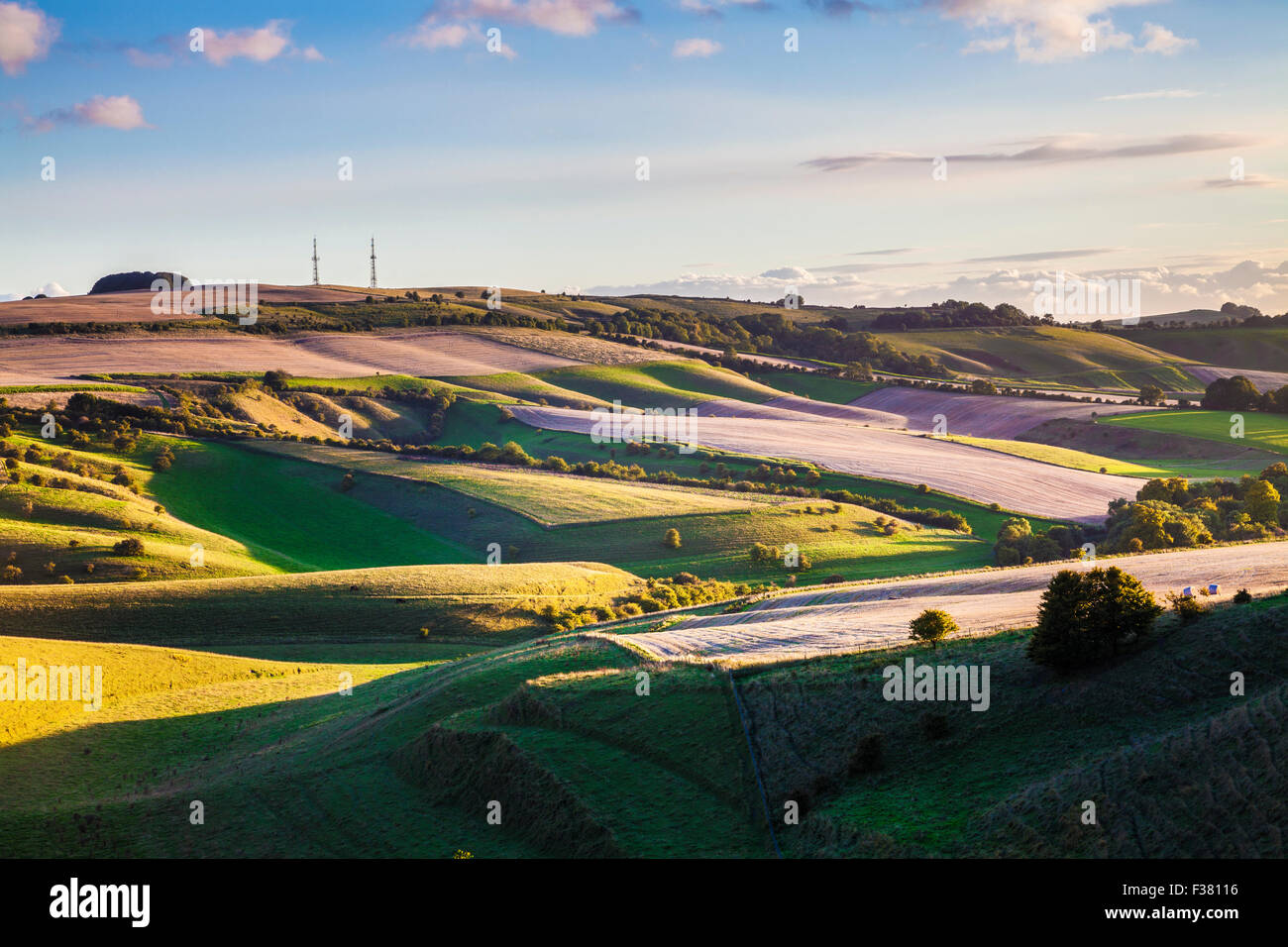 Evening light over the Wiltshire countryside towards Morgan's Hill. Stock Photo