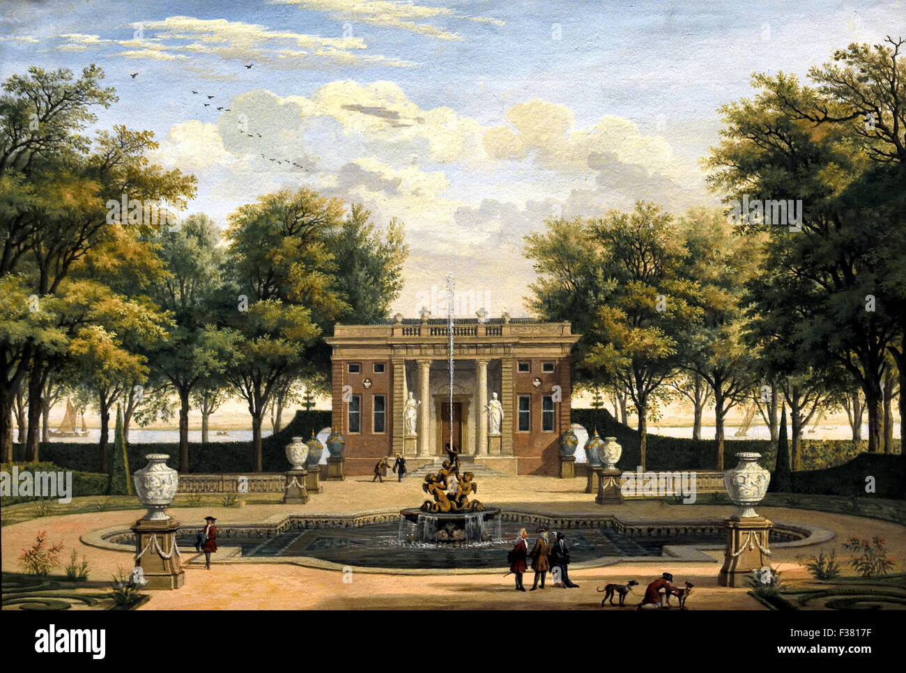 View of Spaarenhout Manor from the Kleine Houtweg ( near Amsterdam ) 1713 Isaac de Moucheron 1667 - 1744 ( Gouache - Stock Image