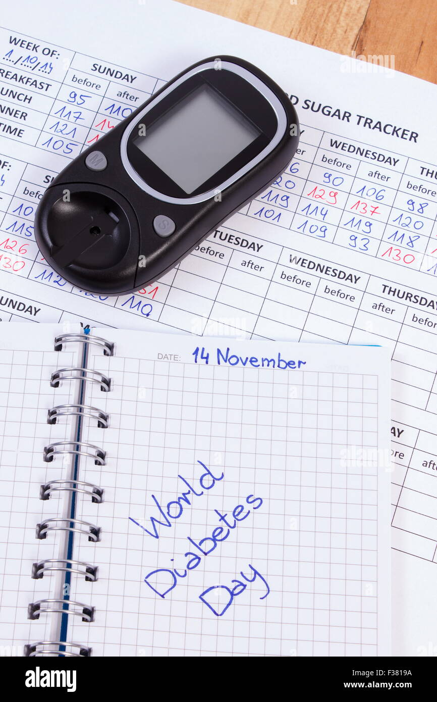 World Diabetes Day Written In Notebook Medical Forms With Results