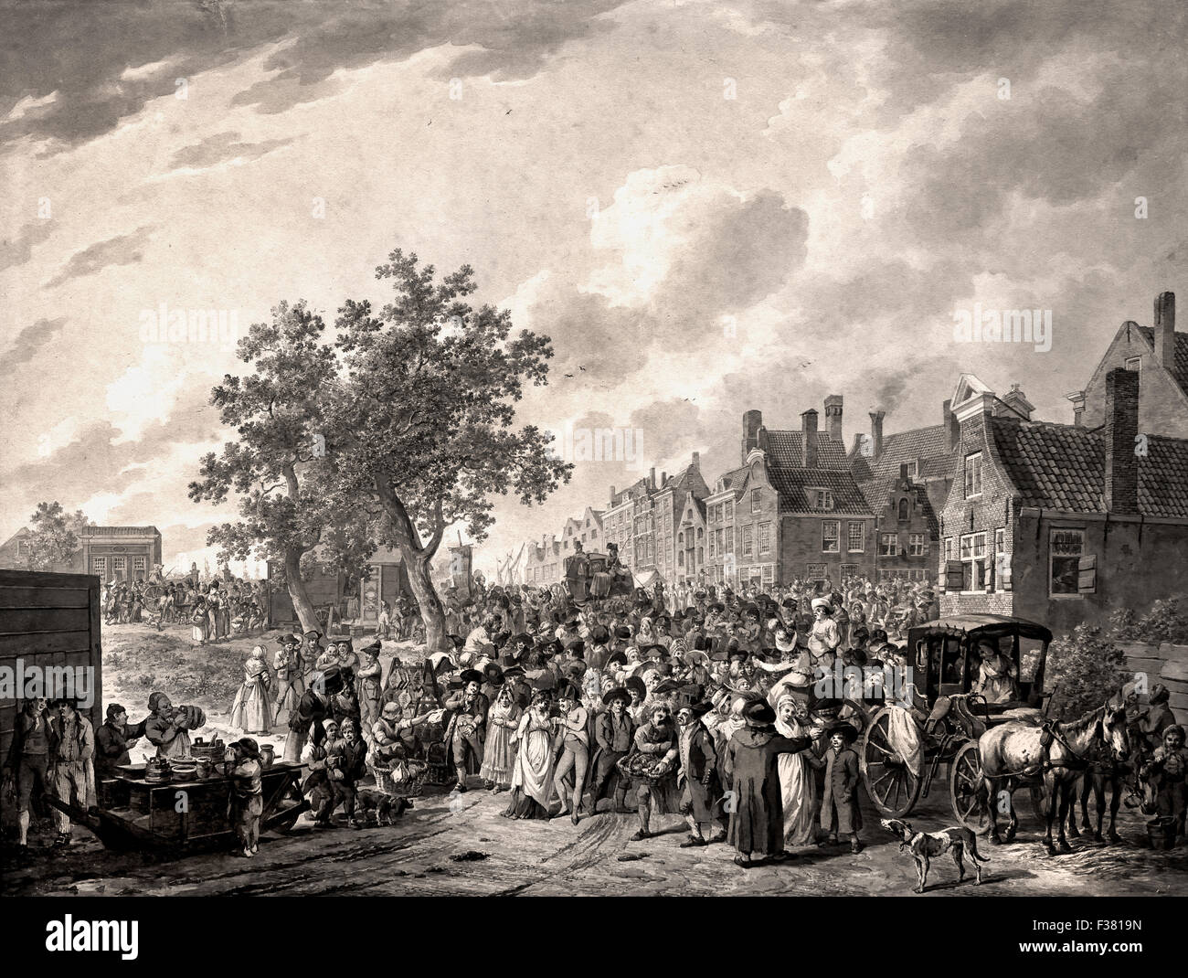 A Large Crowd Gathering on the Outskirts of a Town 1797 Christoffel Meijer 1776 - 1813 Dutch Netherlands drawing - Stock Image