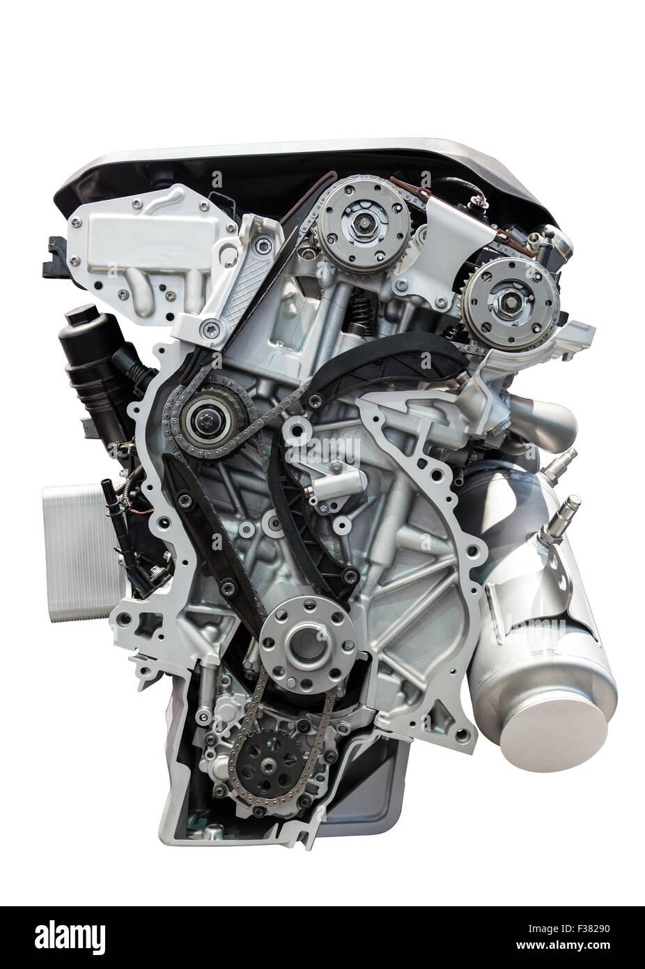 Four cylinder car engine isolated on white background - Stock Image