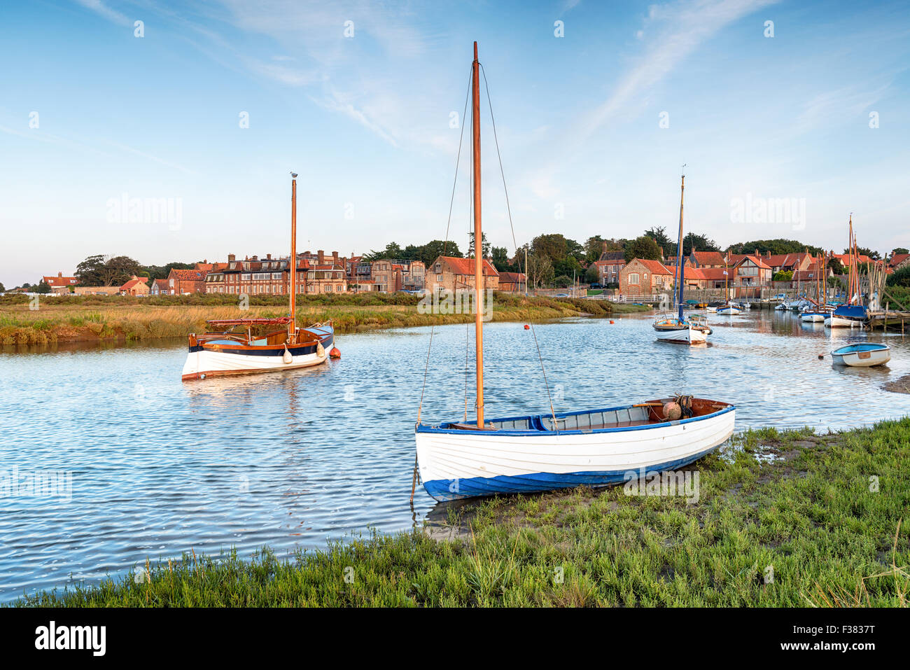 High tide on the salt marshes at Blakeney on the north coast of Norfolk - Stock Image