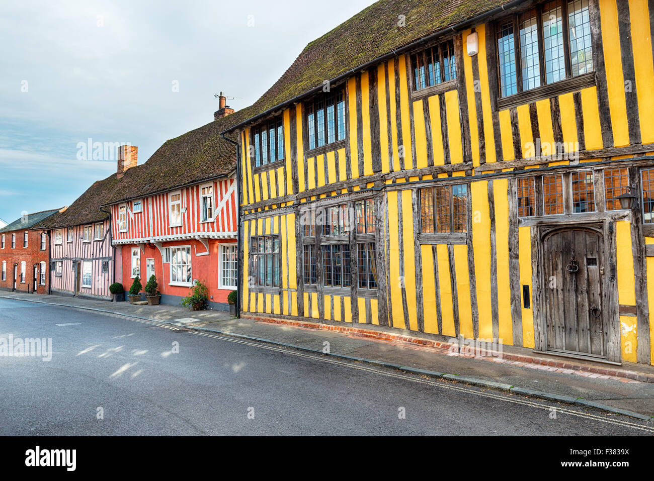 Colourful Tudor half timbered houses at Lavenham in Suffolk Stock Photo