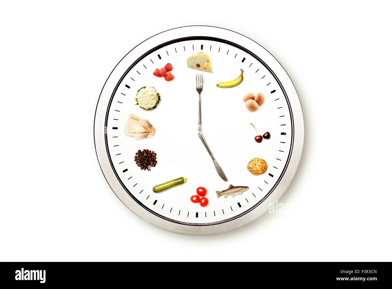 time for food, conceptual image for diet and nutrition - Stock Image