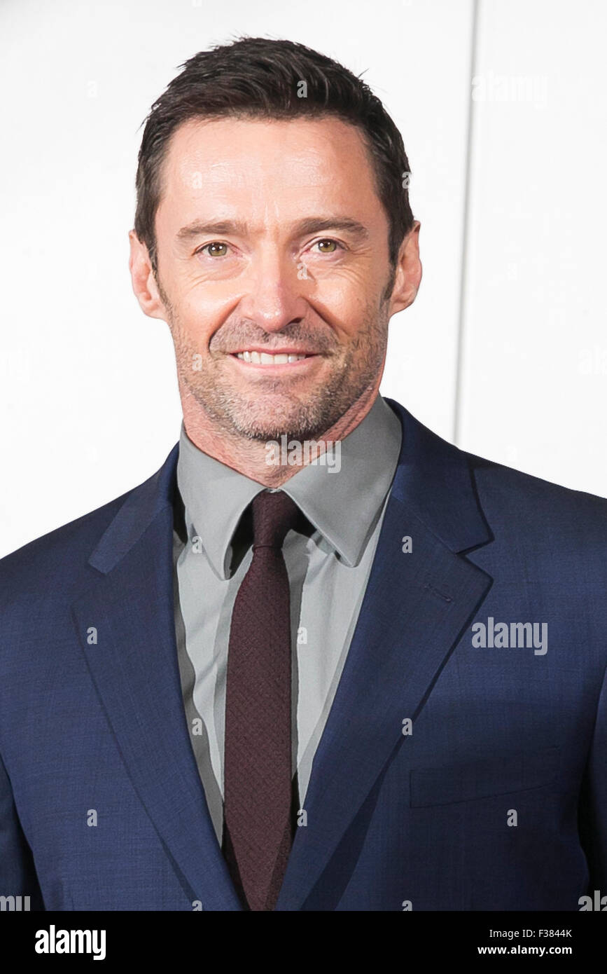Tokyo, Japan. 1st October, 2015. Australian actor Hugh Jackman attends the Japanese premiere for the film Pan at - Stock Image