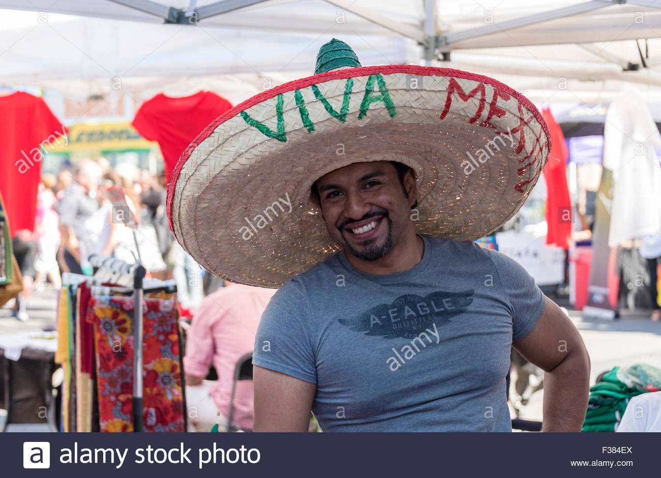 21f8852e4a5 Man wearing a Mexican Sombrero Hat at MexFest 2015 in Toronto. The hat has  the