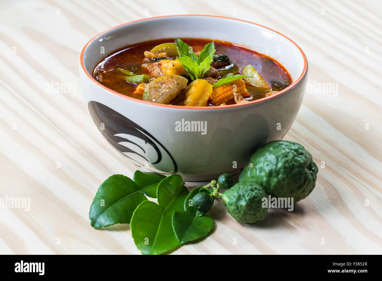 pork red curry, delicious thai food - Stock Image