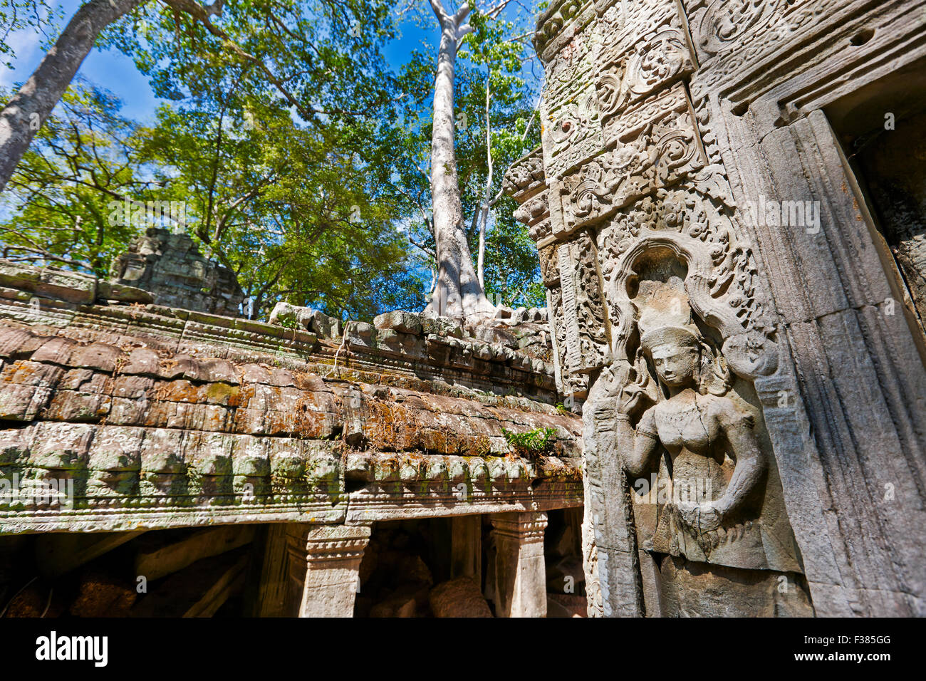 Bas-relief in Ta Prohm temple. Angkor Archaeological Park, Siem Reap Province, Cambodia. - Stock Image