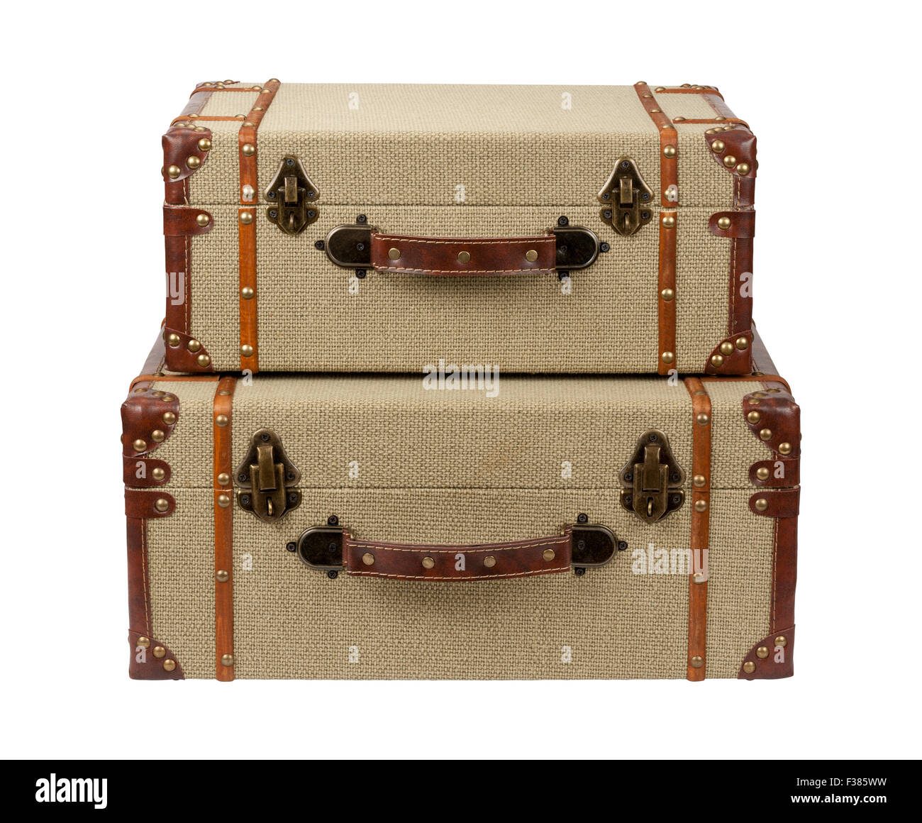 Stacked Deco Wood Burlap Suitcases - Stock Image