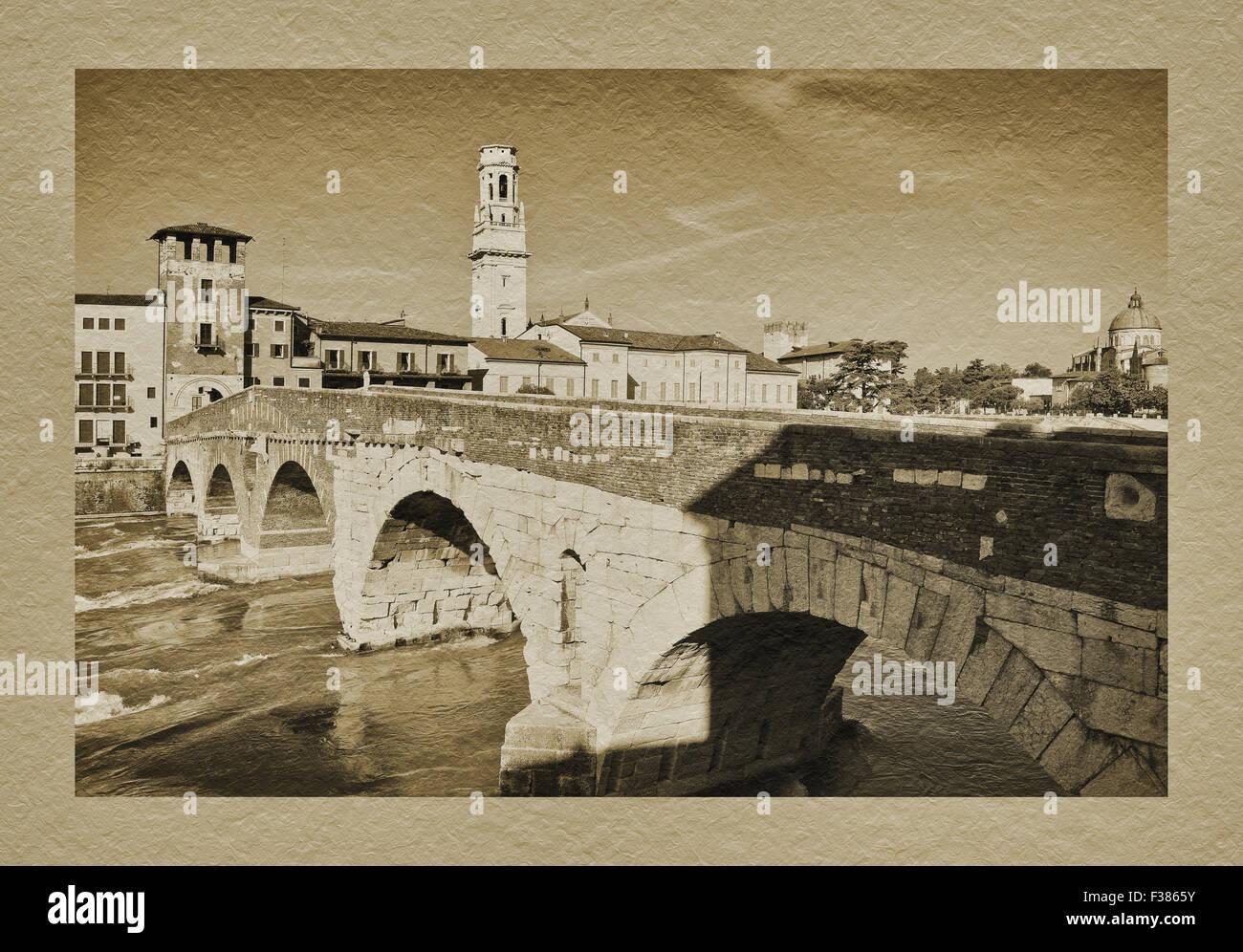 View over the Adige river to old town, Ponte Pietra, San Giorgio in Braida and Santa Maria Matricolare, Verona, Stock Photo