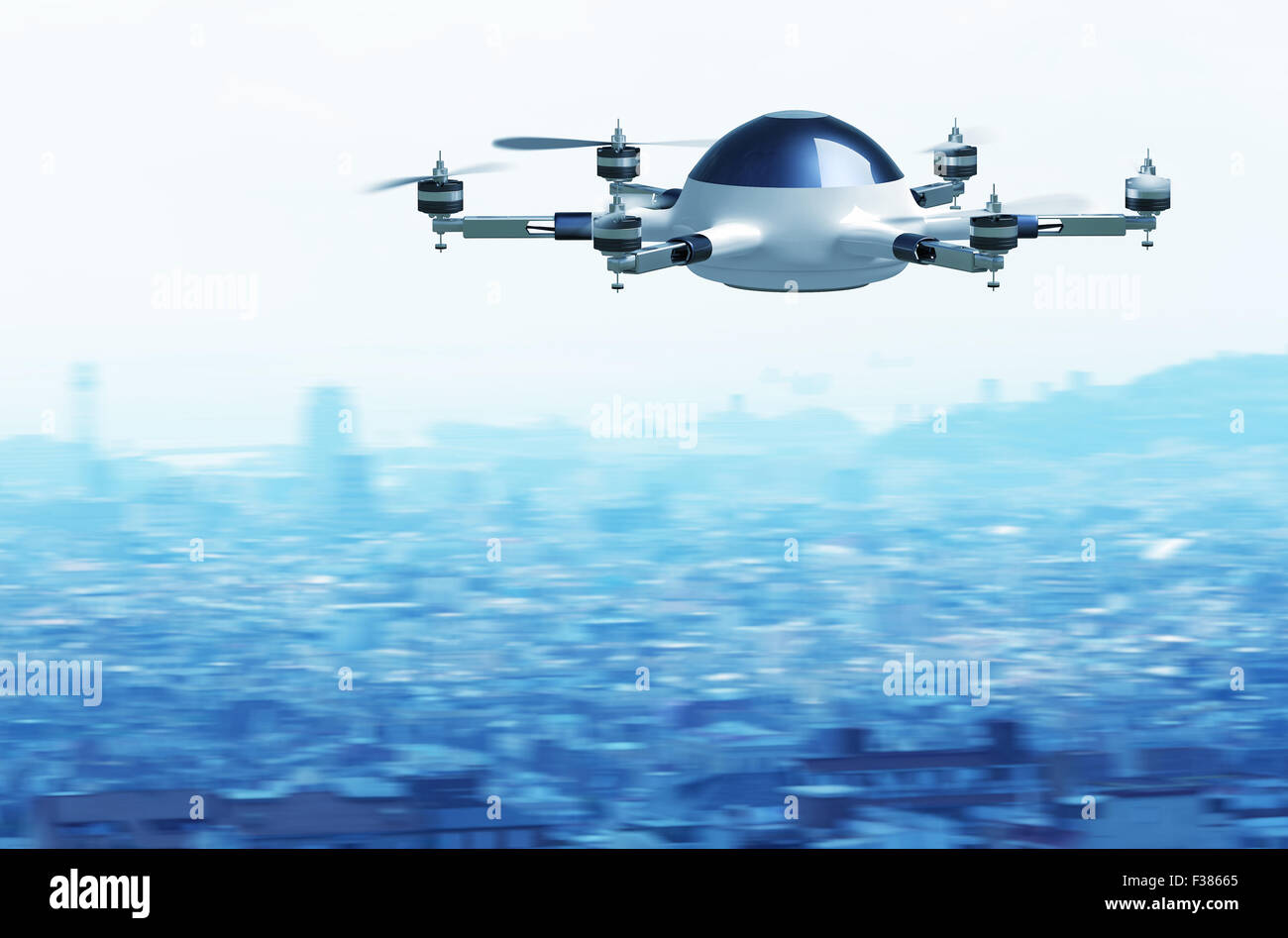 fasten flying drone and town background - Stock Image