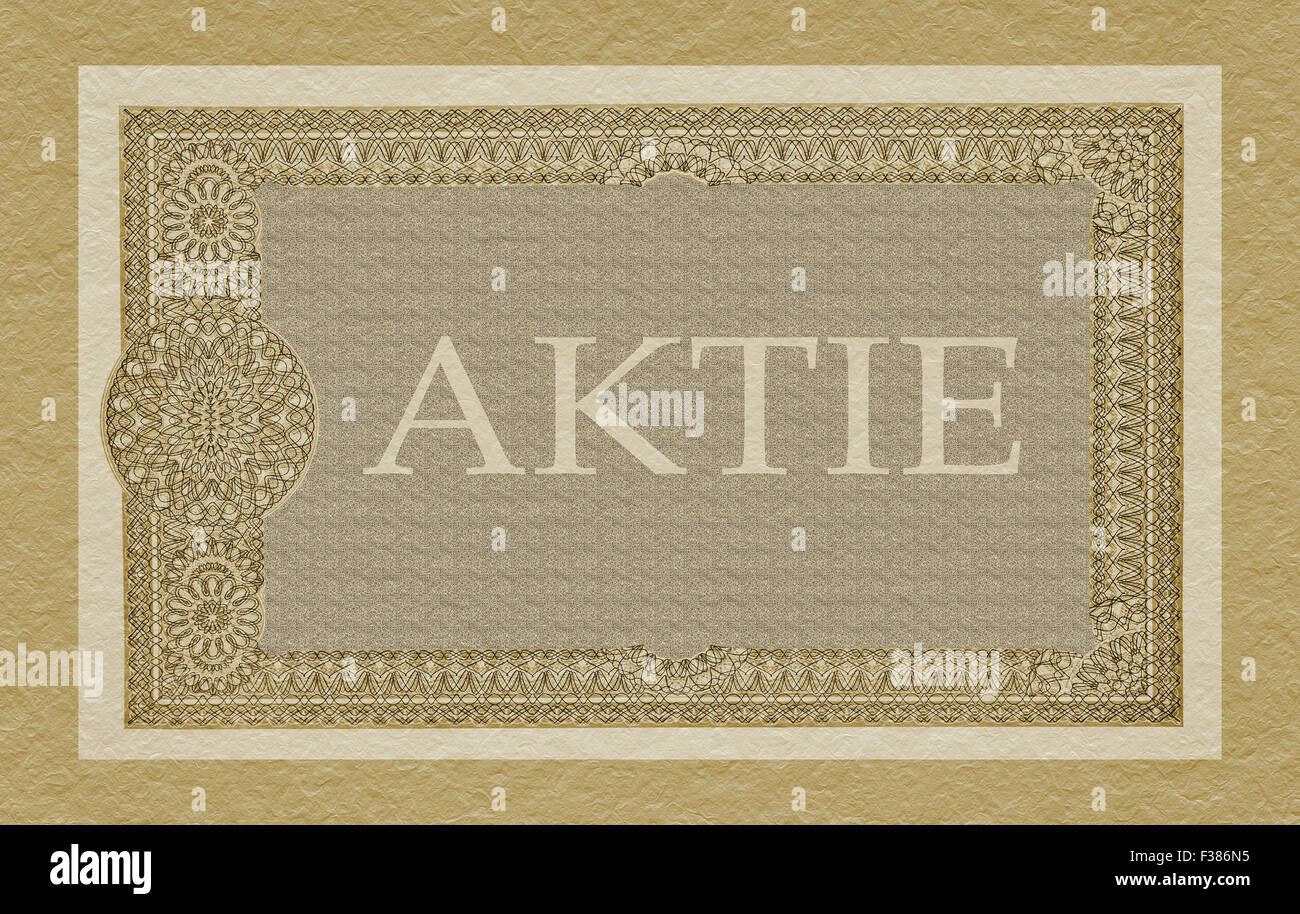 Partial view of an old German share (Aktie) - Stock Image