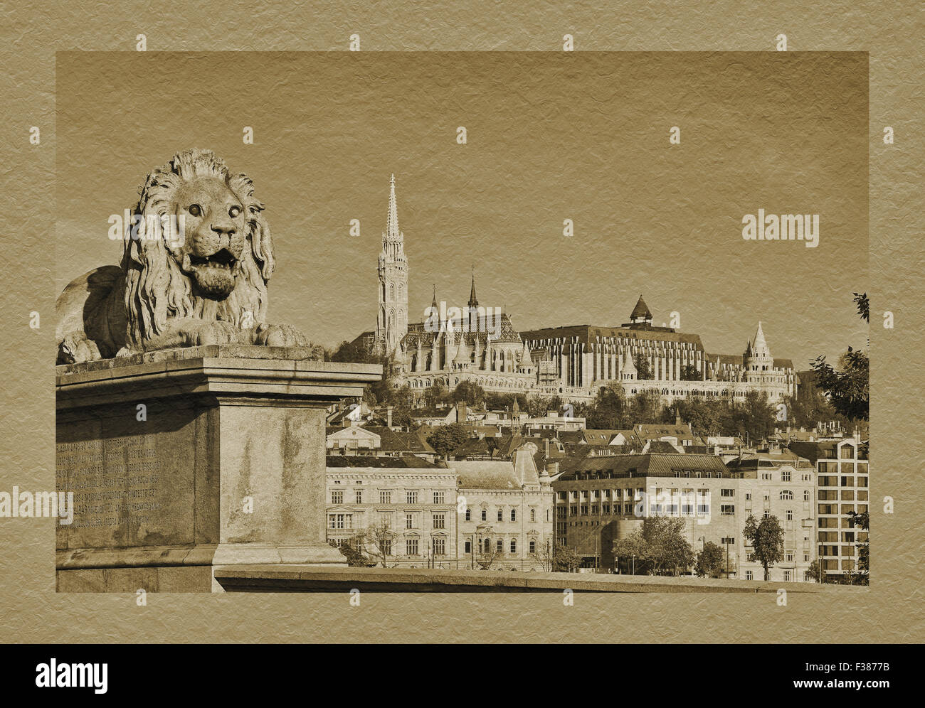 View from Szechenyi Chain Bridge to Fishermens Bastion and Matthias Church, Budapest, Hungary, Europe - Stock Image