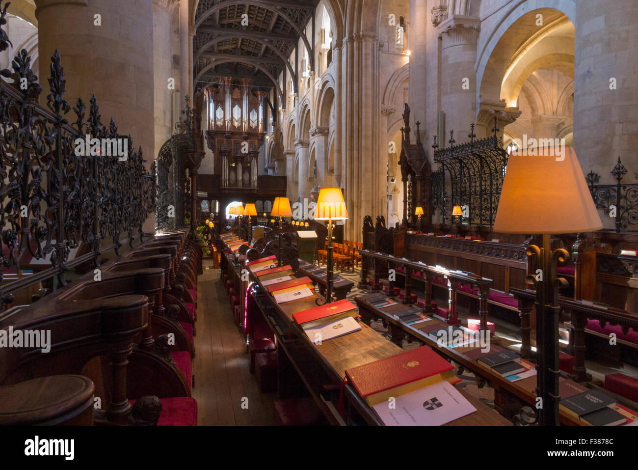 Choir stalls / seats (looking towards the Nave) at Christ Church Cathedral, Oxford University. Oxford. UK. - Stock Image