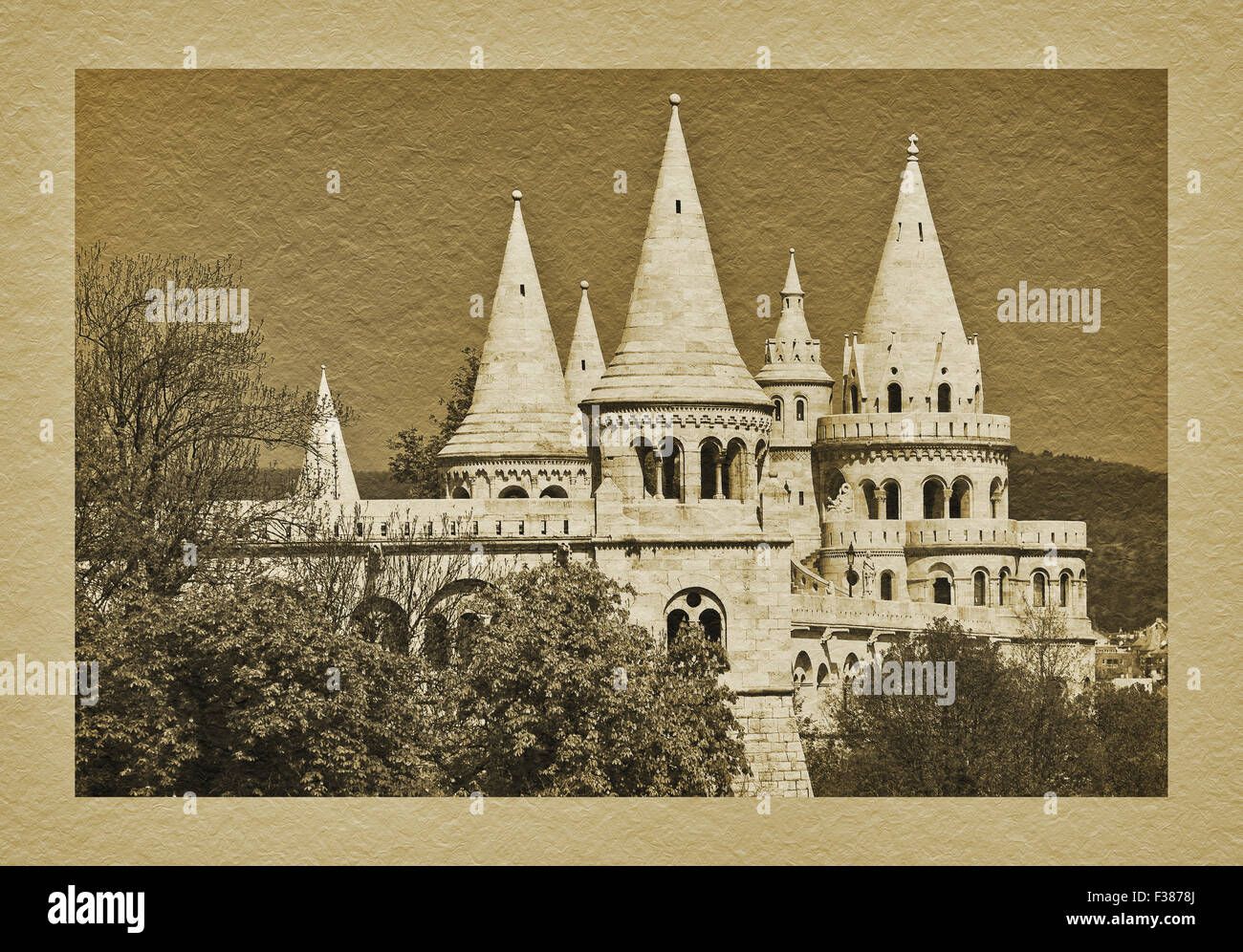 View to Fishermens Bastion, built from 1895 to 1902 by Frigyes Schulek, Budapest, Hungary, Europe - Stock Image