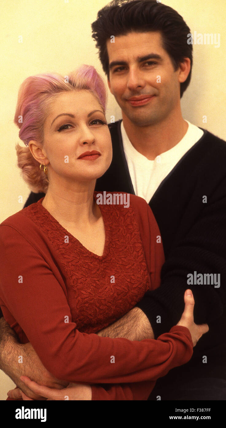 cyndi lauper with her husband actor david thornton. Black Bedroom Furniture Sets. Home Design Ideas