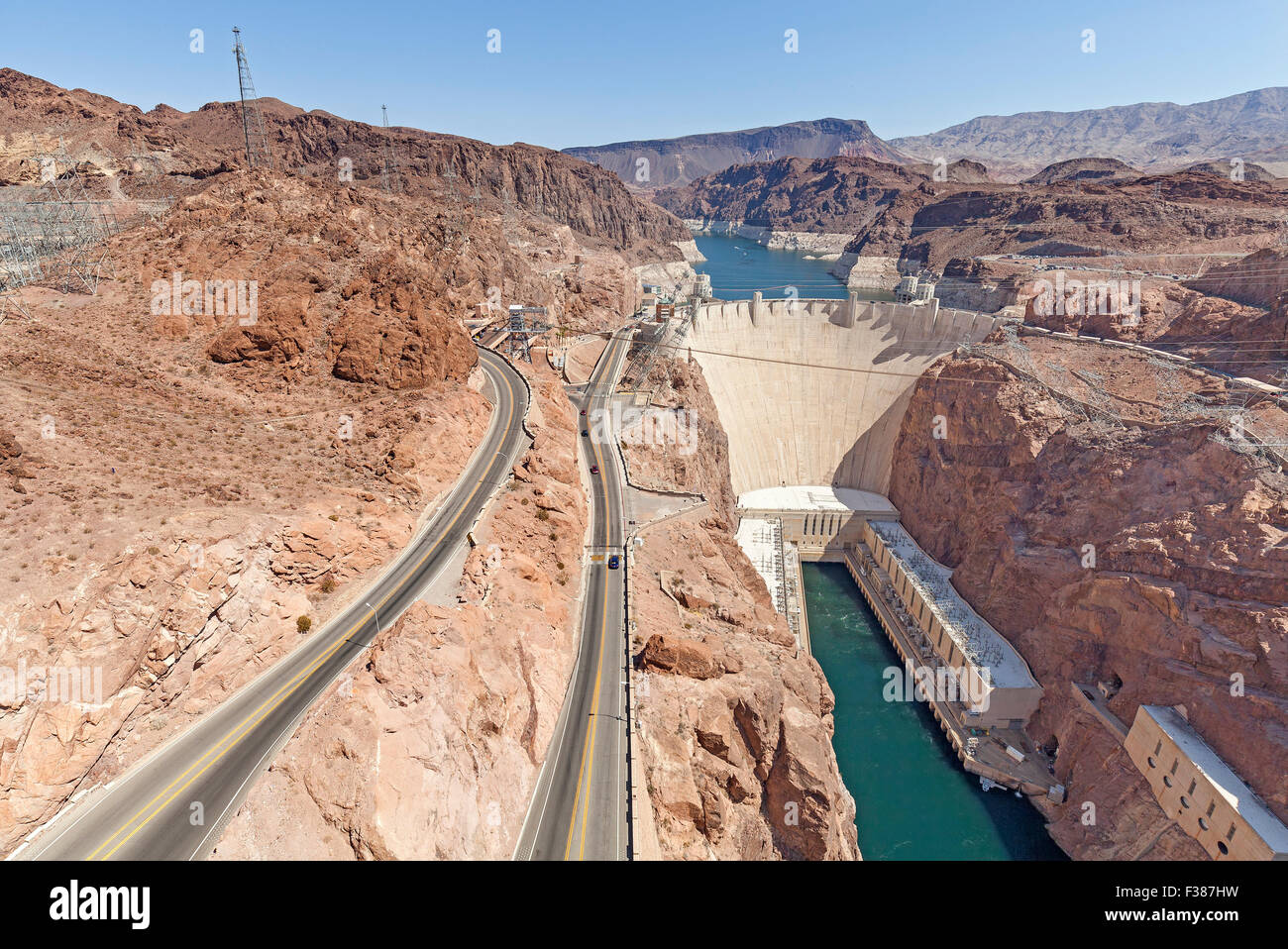 Hoover Dam, concrete arch gravity dam in the Black Canyon of
