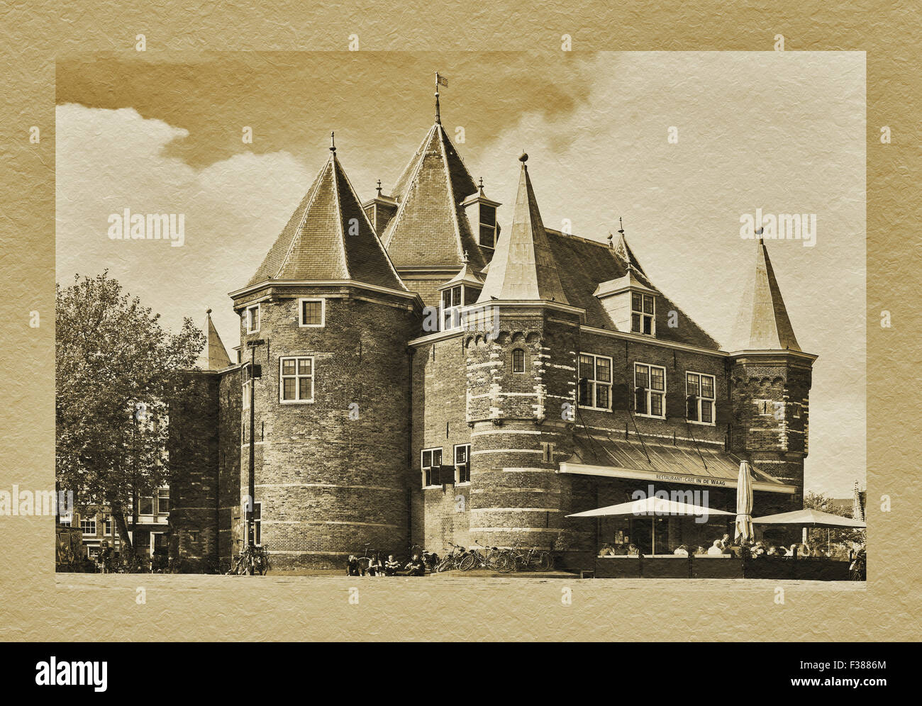 Building of old city scales, De Waag at the Nieuwmarkt  Amsterdam, North Holland, Netherlands, Europe - Stock Image