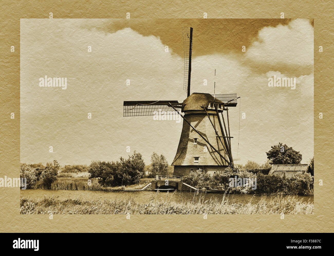 The windmills of Kinderdijk, South Holland, Netherlands, Europe - Stock Image