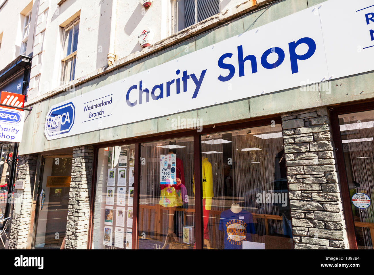 RSPCA Charity shop store sign exterior front facade high street shopping Kendal Cumbria UK England - Stock Image