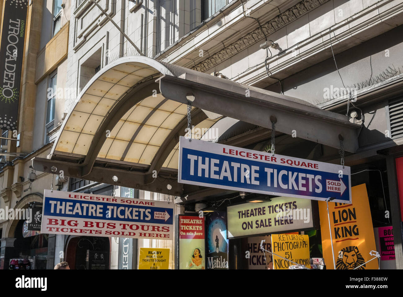 Theatre ticket office, Leicester Square, London, England UK - Stock Image