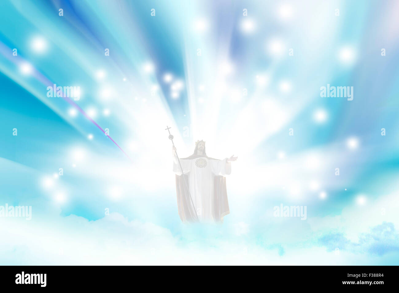 jesus christ in blue sky with clouds - heaven stock photo: 88078344