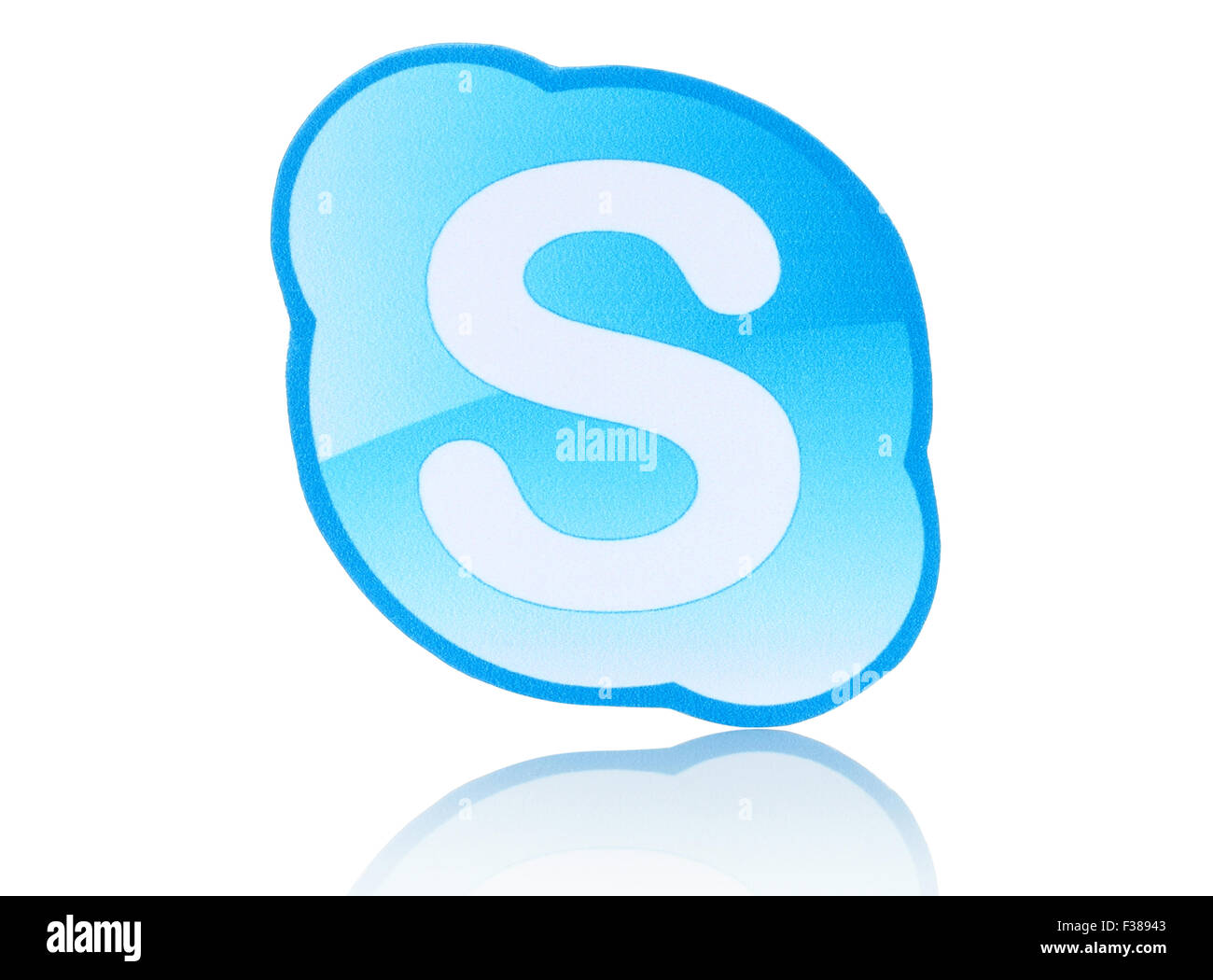 KIEV, UKRAINE - FEBRUARY 19, 2015: Skype logotype printed on paper and placed on white background. - Stock Image