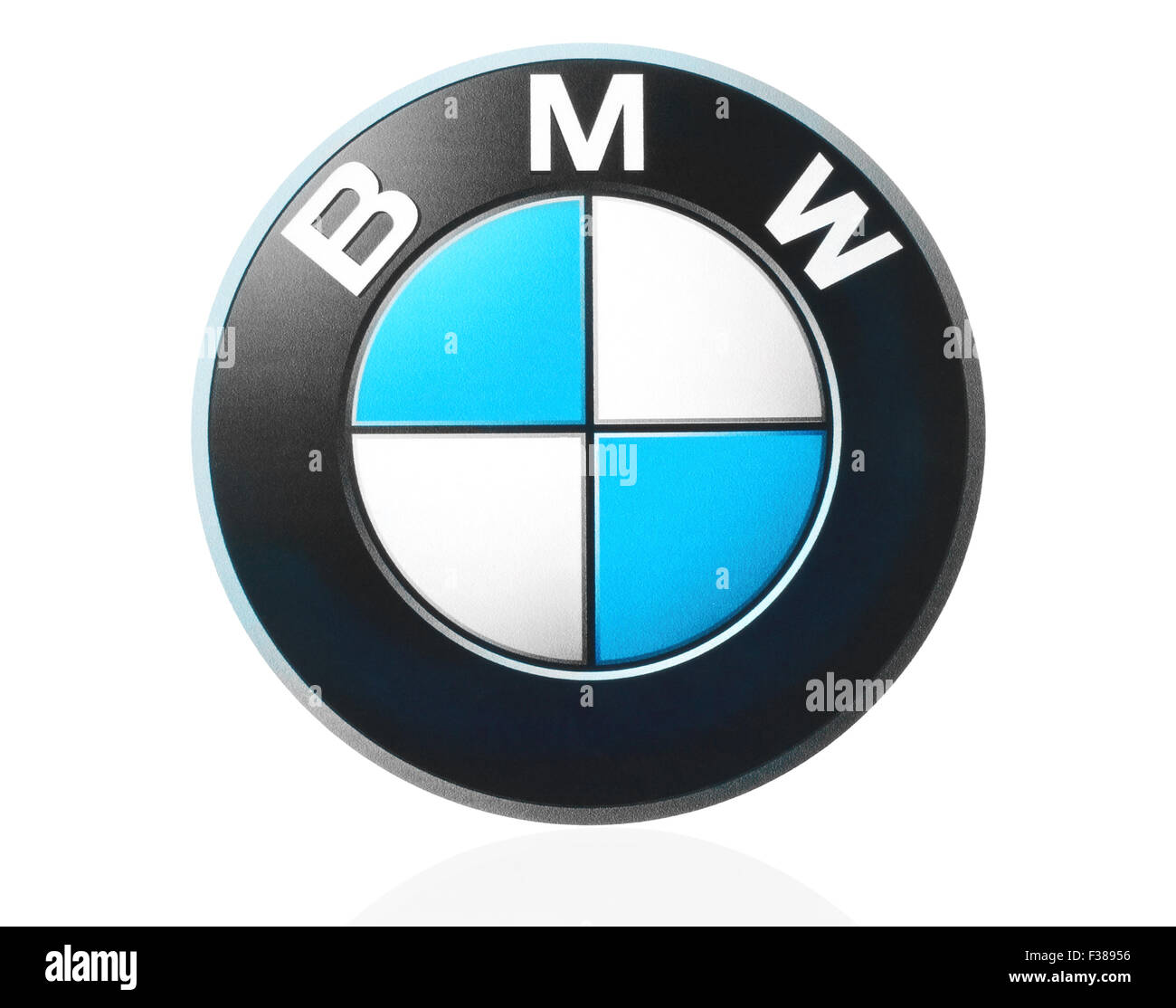 KIEV, UKRAINE - MARCH 21, 2015: BMW logo printed on paper and placed on white background. - Stock Image