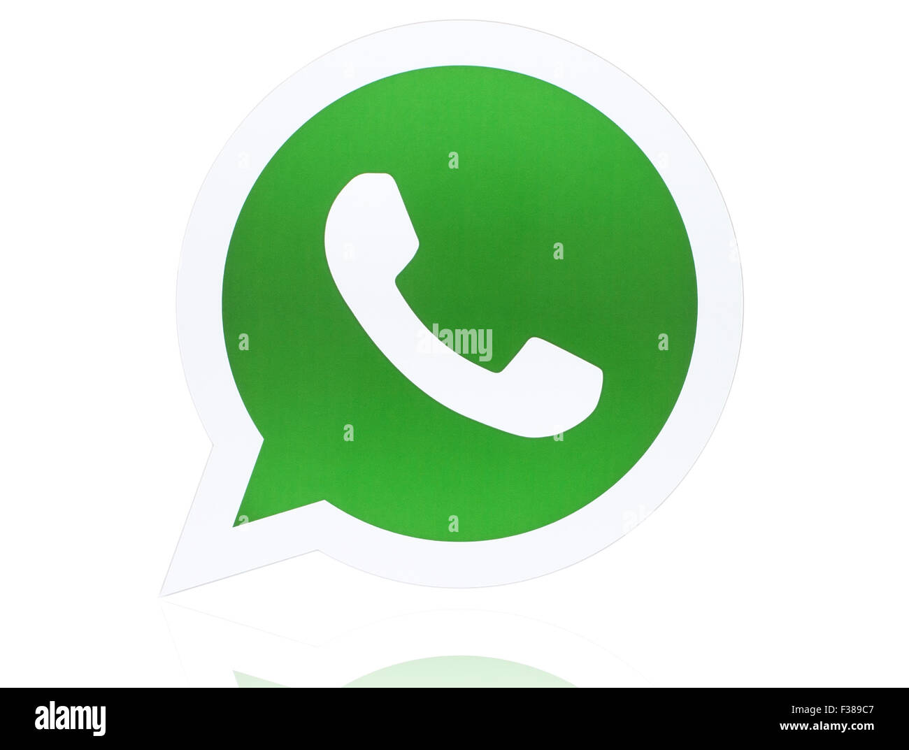 KIEV, UKRAINE - APRIL 27, 2015:WhatsApp Messenger logotype printed on paper. - Stock Image