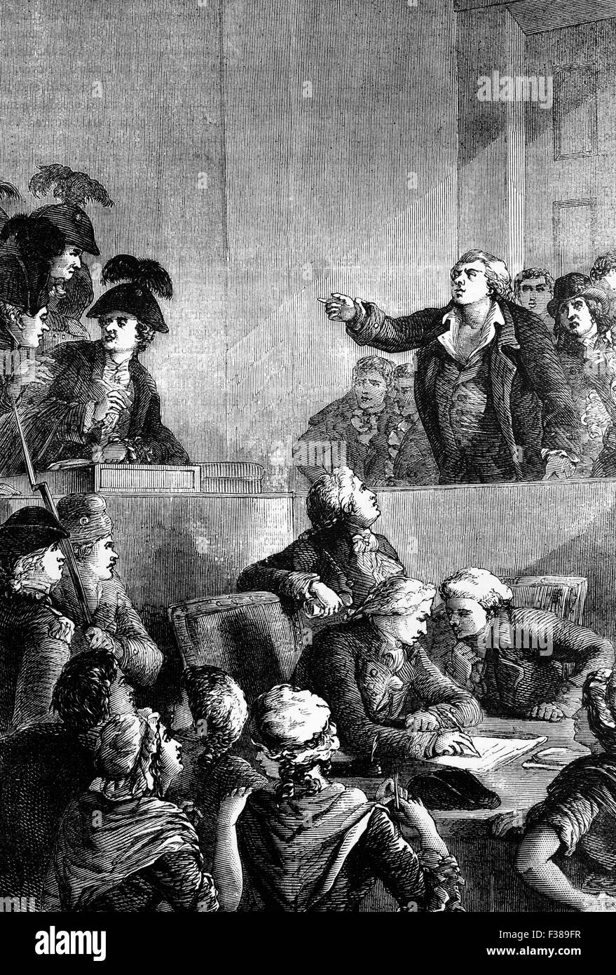 Georges Jacques Danton,  a leading figure in the early stages of the French Revolution, defending himself before - Stock Image