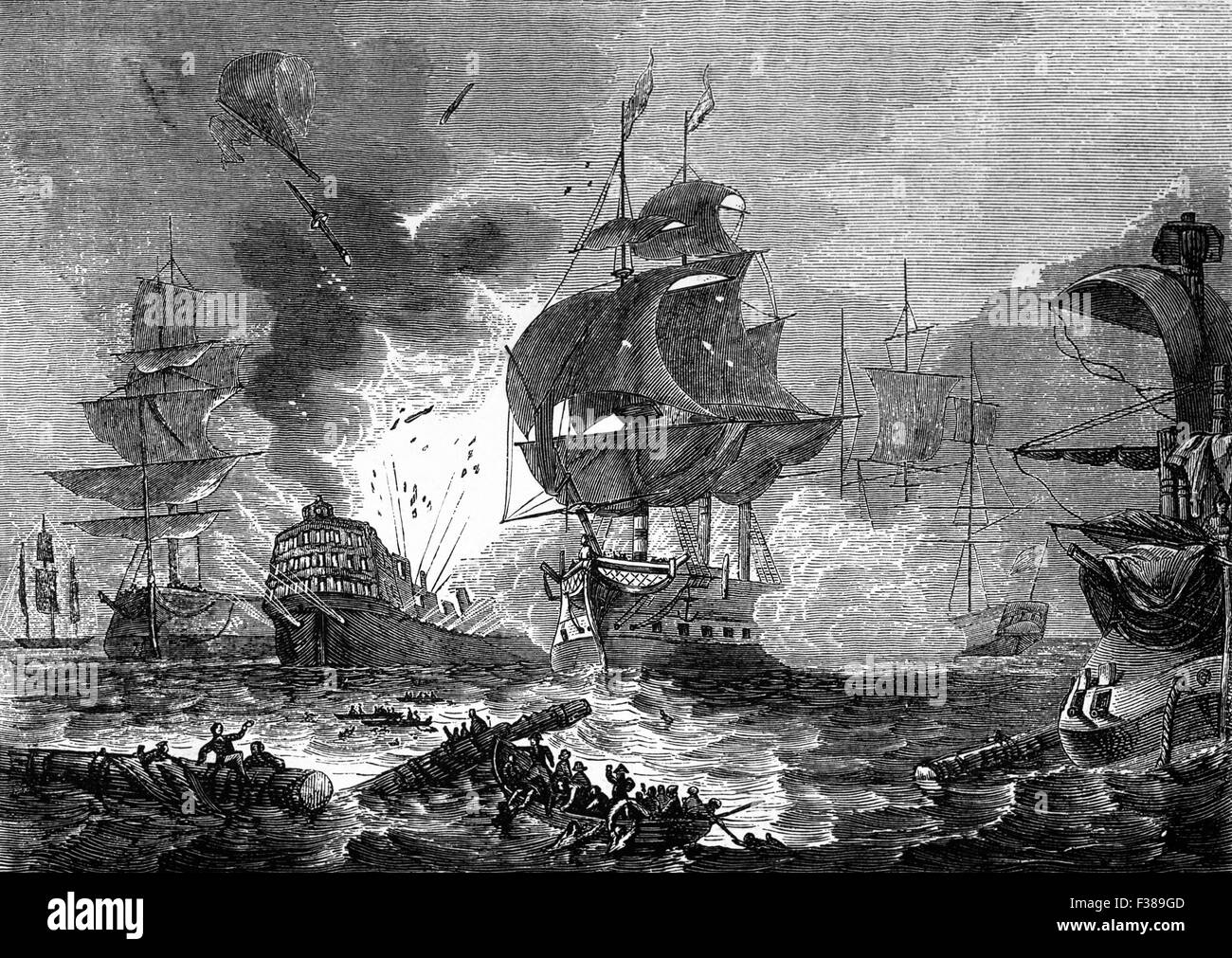 The Battle of the Nile, a major naval battle fought between British and French fleets at Aboukir Bay on the Mediterranean - Stock Image