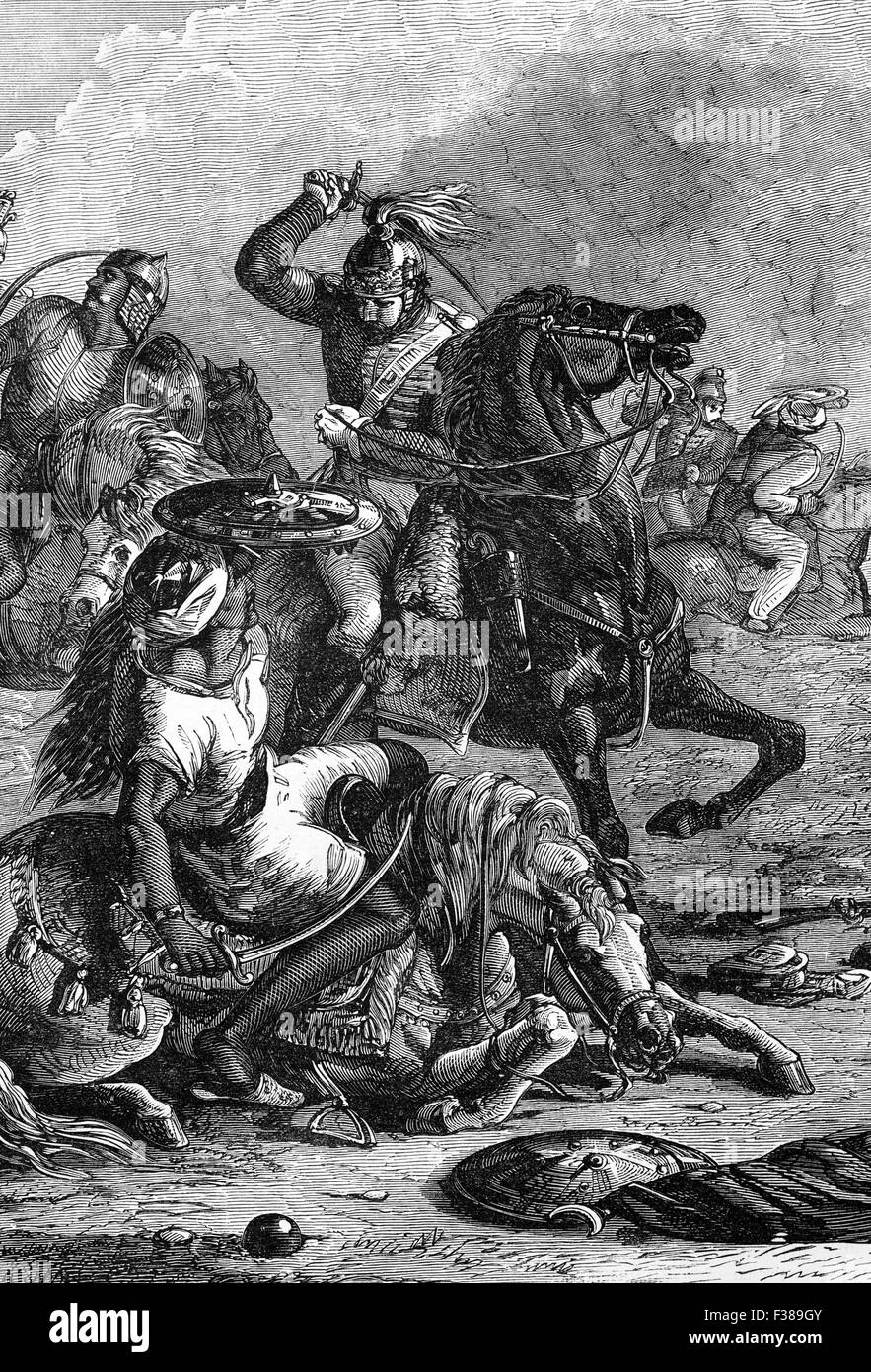 The Battle of Assaye was a major battle of the Second Anglo-Maratha War fought between the Maratha Confederacy and - Stock Image