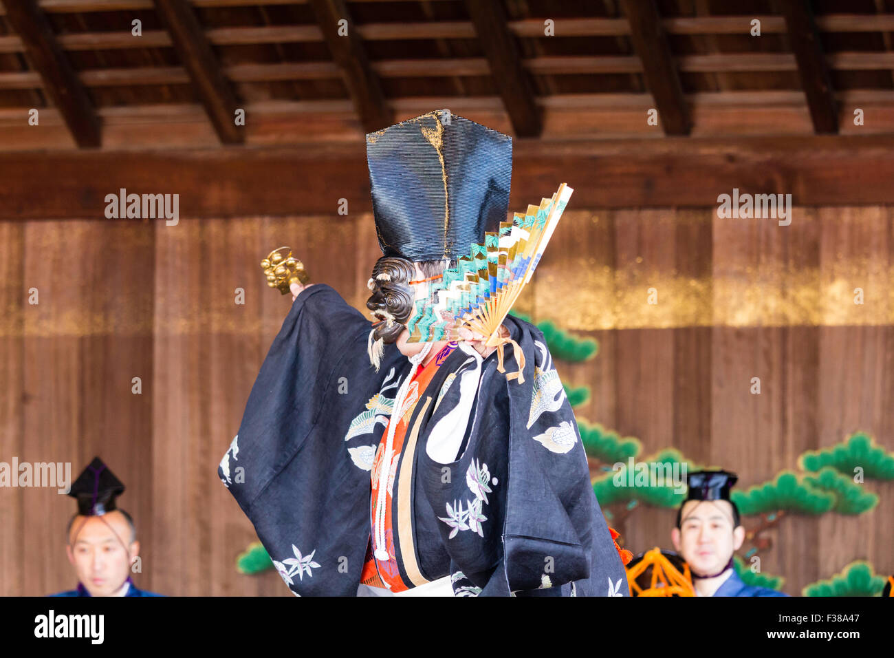 Kyoto, Yasaka Shinto shrine, traditional Noh performance, Main actor, Shite, dancing with mask, no-men or omote, - Stock Image