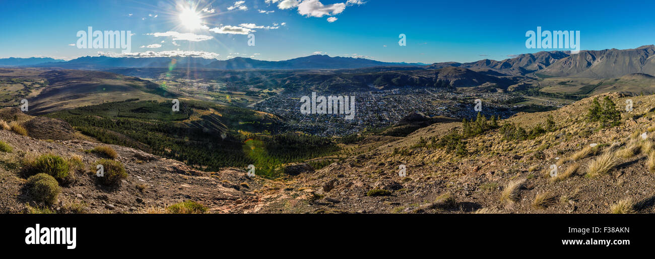 View from the top of the mountain, Esquel, Patagonia, Argentina - Stock Image