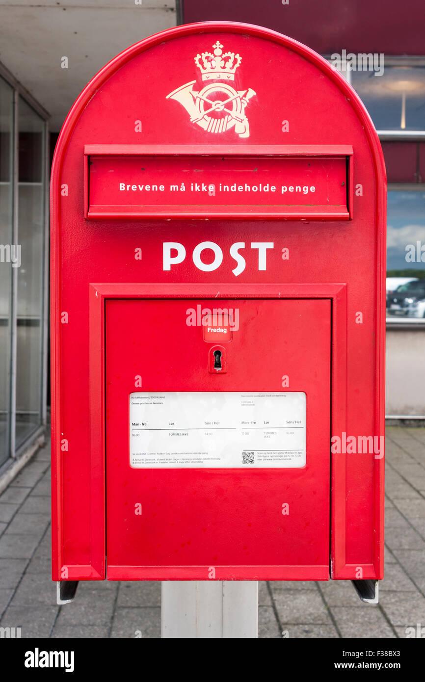 Danish Postbox, Aarhus, Denmark, Europe. - Stock Image