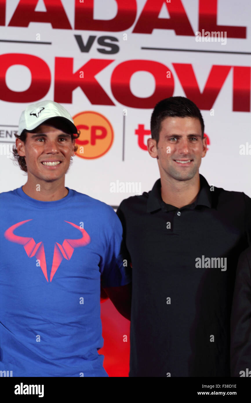 Bangkok Thailand. 1st October 2015. Tennis players Spain's Rafael Nadal (L) and Serbia's Novak Djokovic - Stock Image