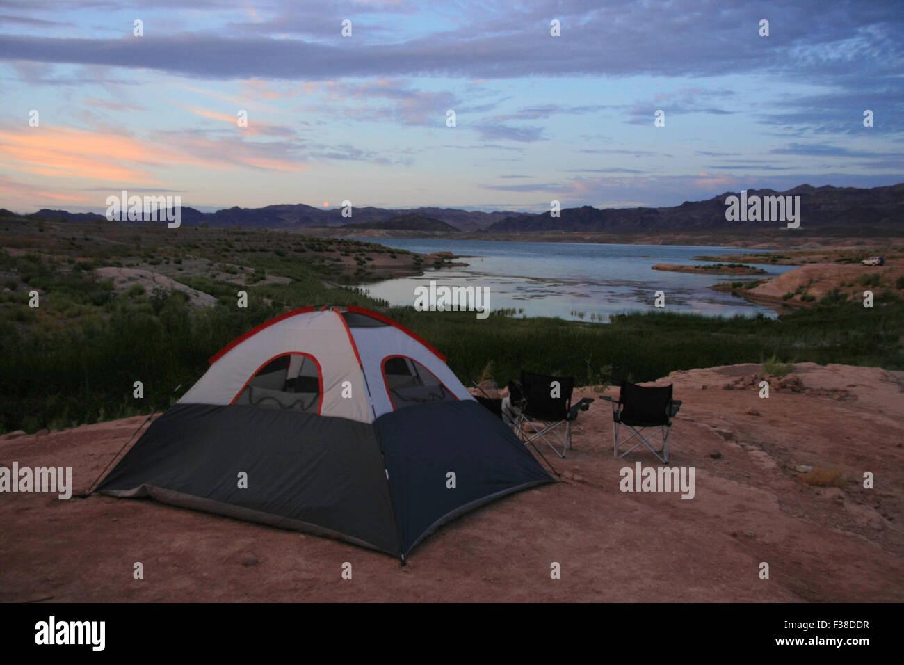 Camping at Lake Mead. - Stock Image