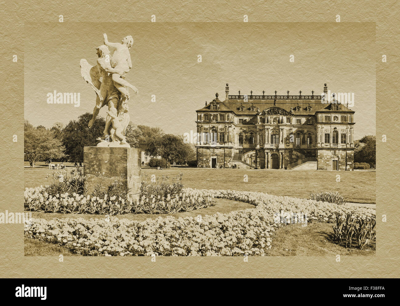 Palace in the grosse garten park and the marble group The Time takes the beauty by Pietro Balestra, Dresden, Saxony, - Stock Image