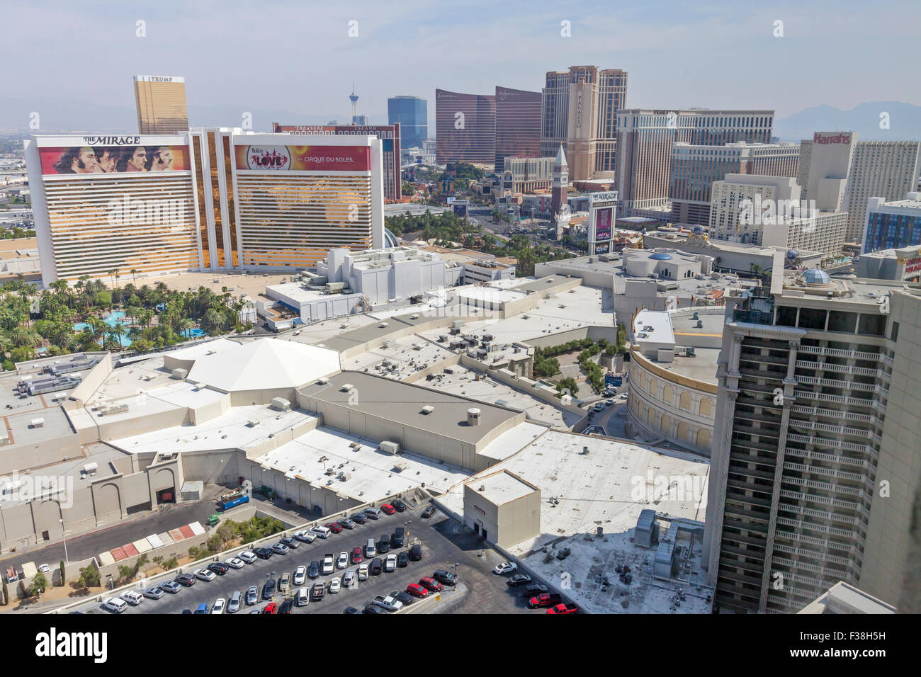 Daytime aerial view of Resorts, Hotels and Casinos in Las Vegas, Nevada. - Stock Image