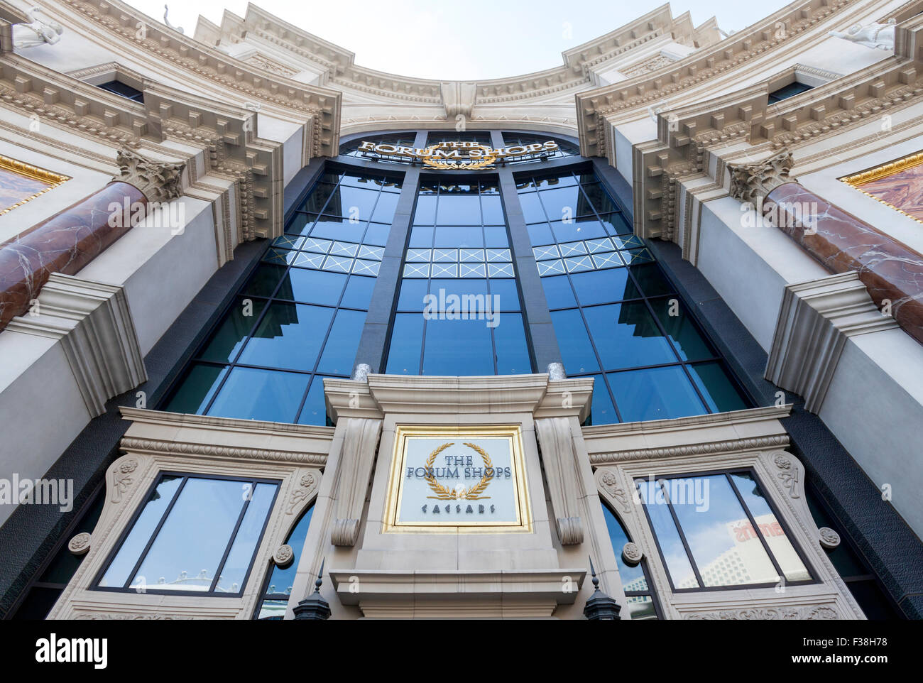 A view of the entrance to The Forum Shops, Caesars Palace, Las Vegas, Nevada. - Stock Image
