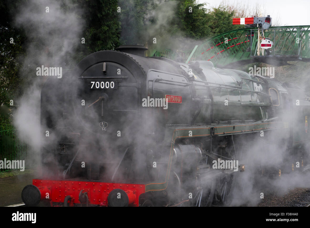 "BR Standard Class 7 Steam Locomotive number 70000 "" Britannia "" at Alresford Station on the Mid Hants Railway during - Stock Image"